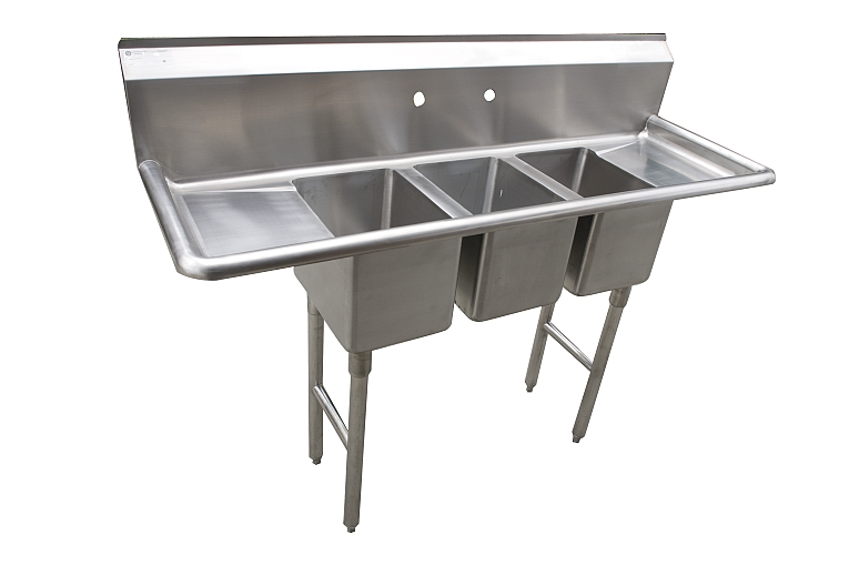 Compact Three Compartment Sinks for Trailers and C-Stores