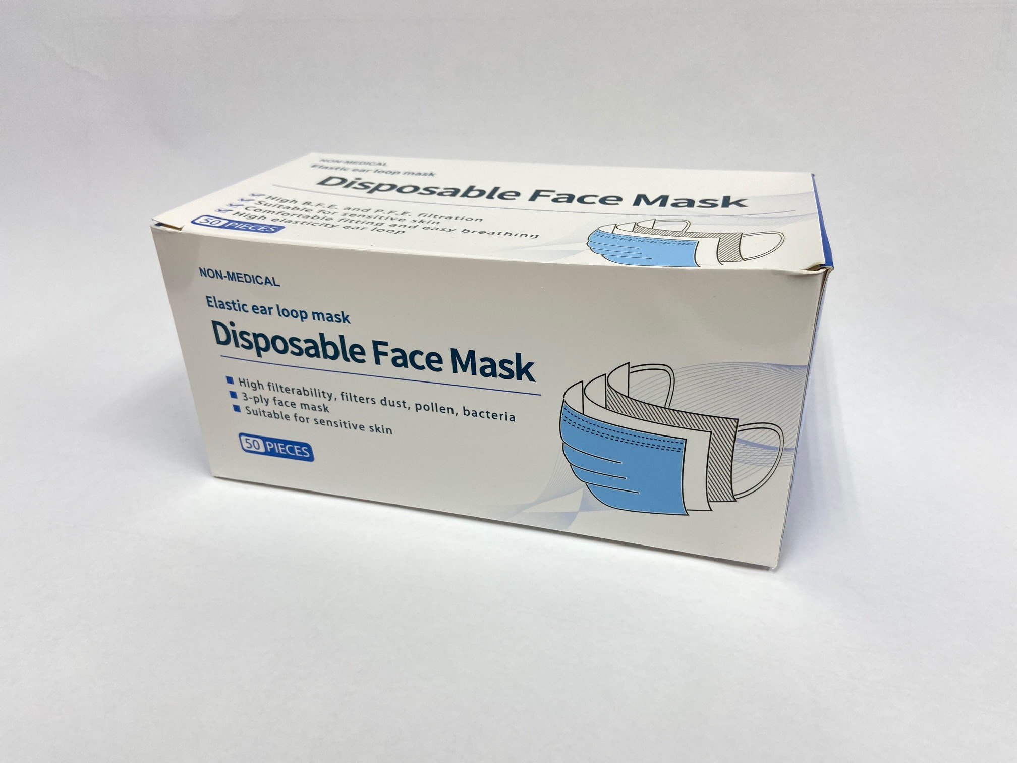 Disposable 3 Layer Face Mask 50 pack