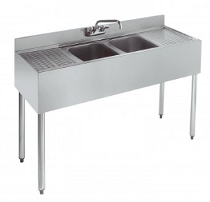 2 Compartment Slim-Line SS Bar Sink, 2 Drain-Boards BKUBW-248T