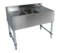 2 Compartment Slim-Line SS Bar Sink,Right Drain-Board BKUBW-236R