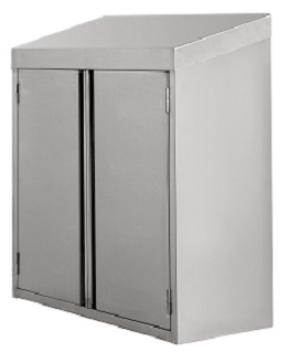 All Stainless Steel Wall Cabinet w Recessed Hinged Doors 15x36