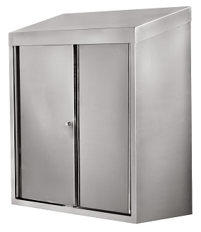 All Stainless Steel Wall Cabinet w Lockable Sliding Doors 15x36