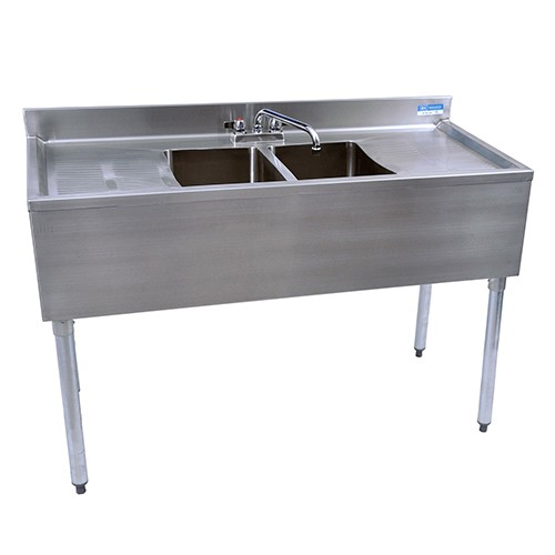 2 Compartment Stainless 48' Bar Sink 24' DB R & FREE Faucet